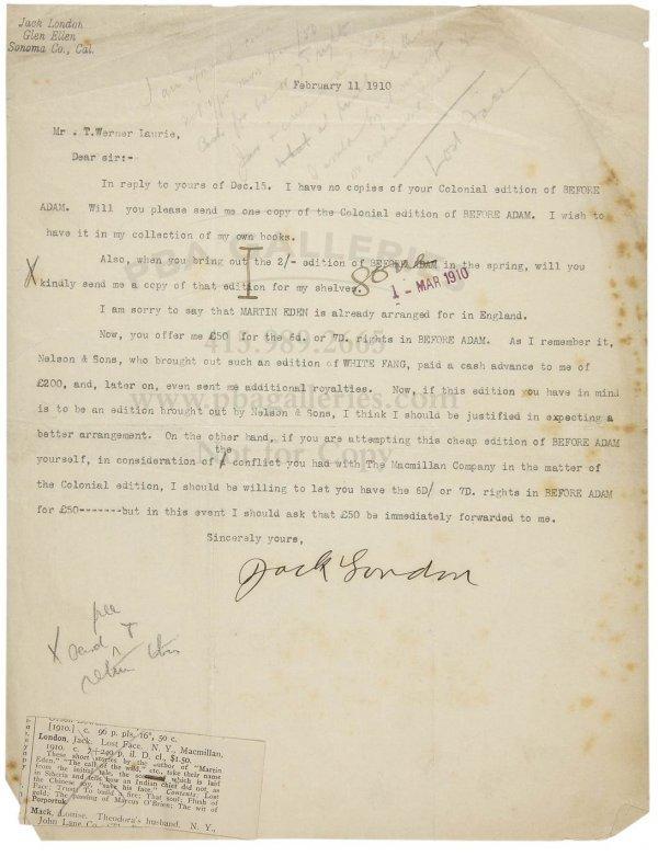 1019: Jack London Signed Letter