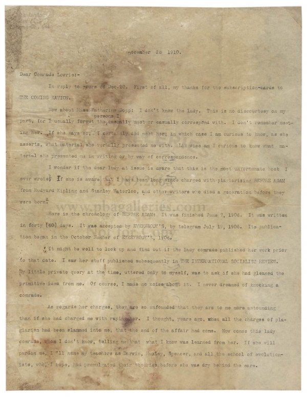 1020: Jack London Signed Letter