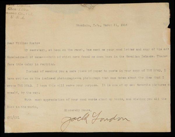 1022: Jack London Signed Letter