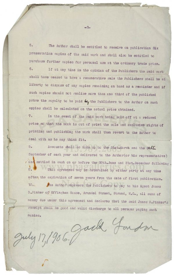 1023: Jack London, Signed Contract for Dazzler