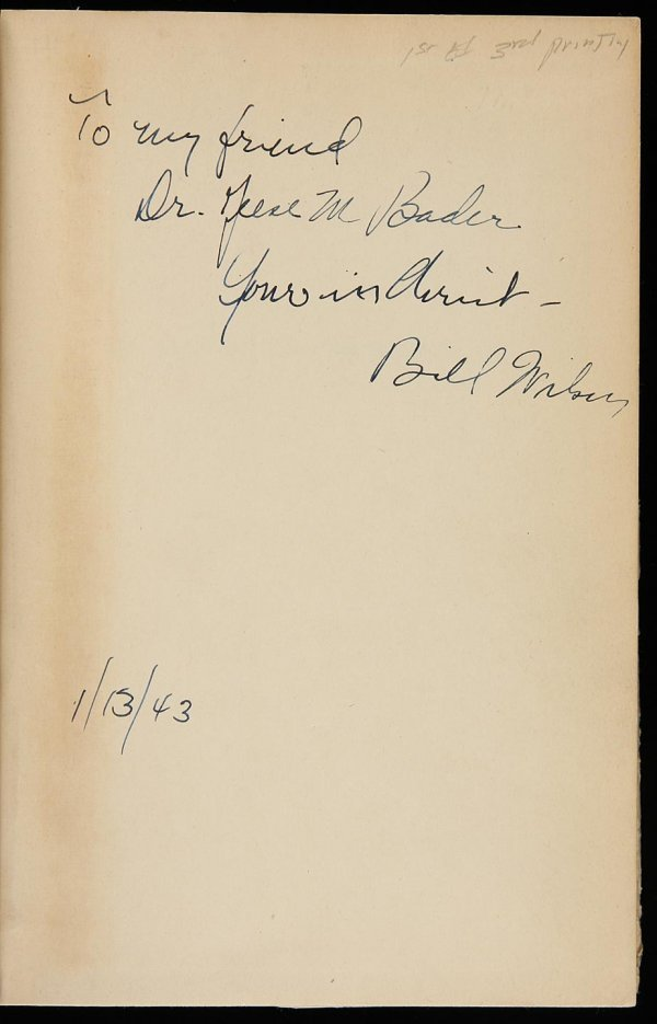 2003: Alcoholics Anonymous inscribed by Bill Wilson