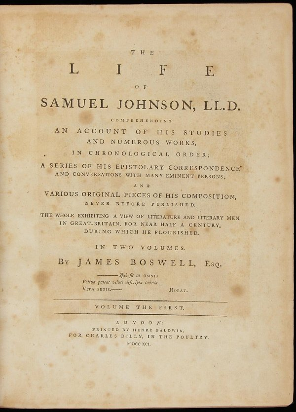 2013: Boswell's Life of Samuel Johnson, First Edition