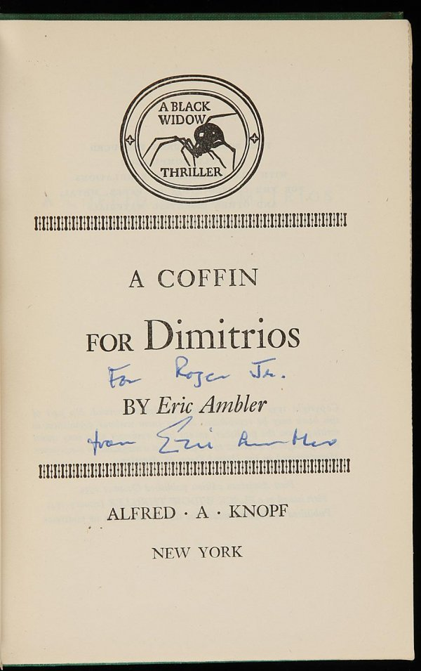 4003: Eric Ambler A Coffin For Dimitrios Signed