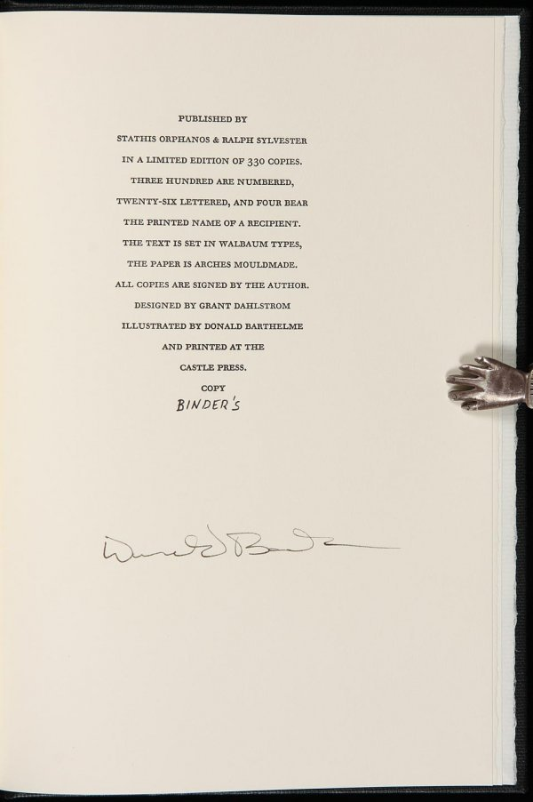 4007: Donald Barthelme The Emerald Signed Limited Edn