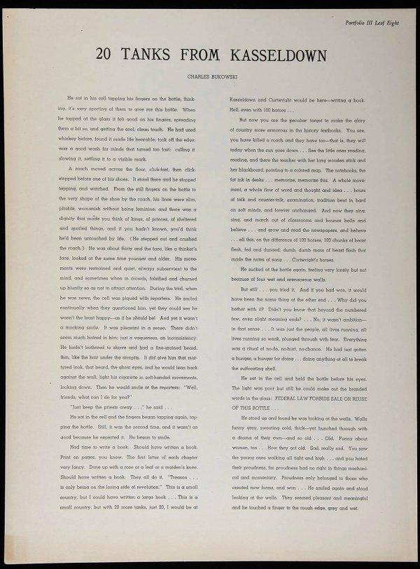 4019: Charles Bukowski in Black Sun Portfolio III