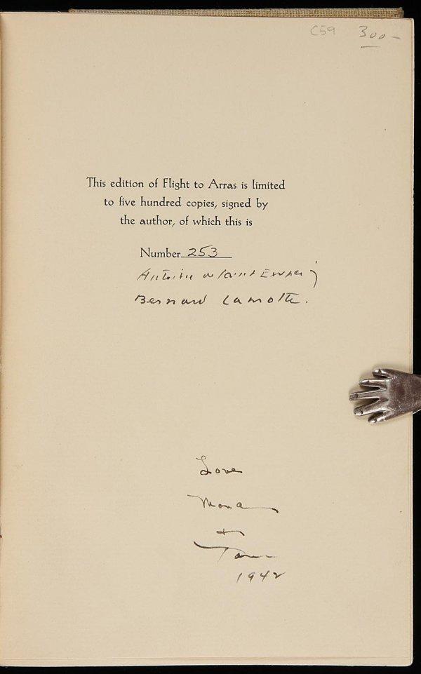 4248: Antoine de Saint-Exupery Flight to Arras SIGNED