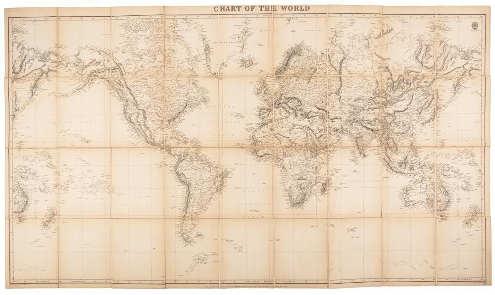 Large British Admiralty chart of world, 1874