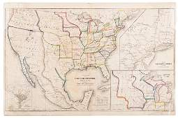 Map of United States & Mexico with Texas 1845