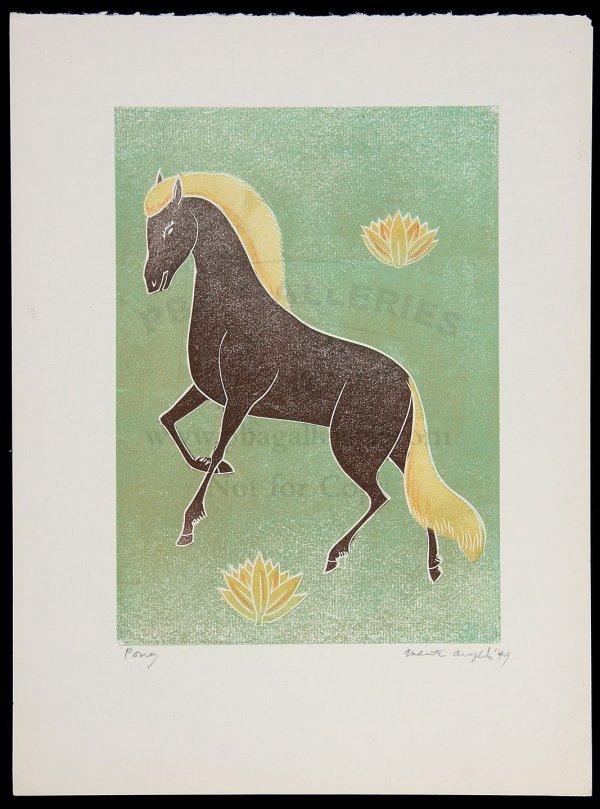 9: Valenti Angelo Woodblock Print 'Pony' 1949