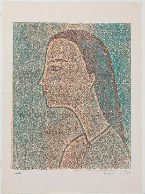 10: Valenti Angelo Color Woodcut 'Nina'