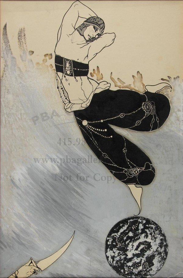 73: Original pen-and-ink watercolor of Nijinsky
