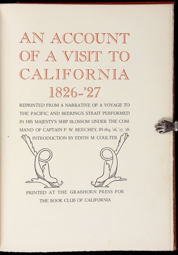 1012: F.W. Beechey's California Voyage Grabhorn Press