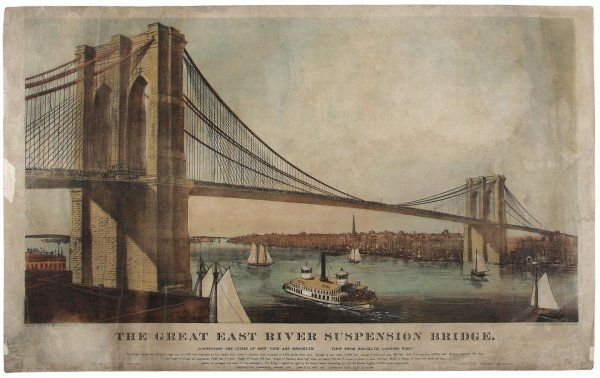 1016: Currier & Ives lithograph of Brooklyn Bridge 1883