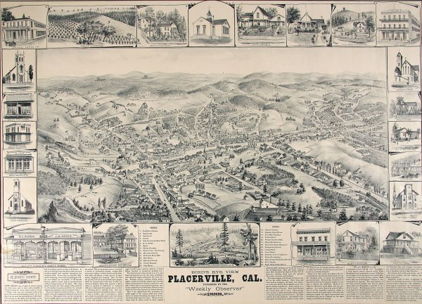 1022: Bird's Eye View, Placerville, California 1888