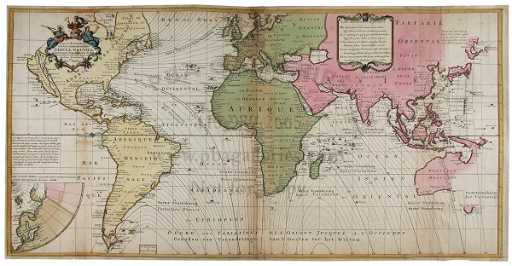 1300 Halley World Map With Compass Variations 1740