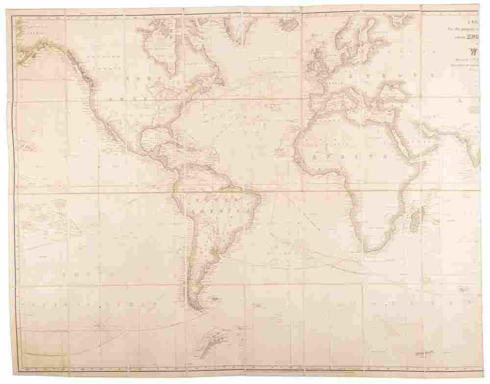World chart with ship's route in ink, 1861