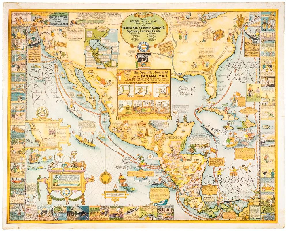 Color pictorial map of Panama Mail Steam Ship route