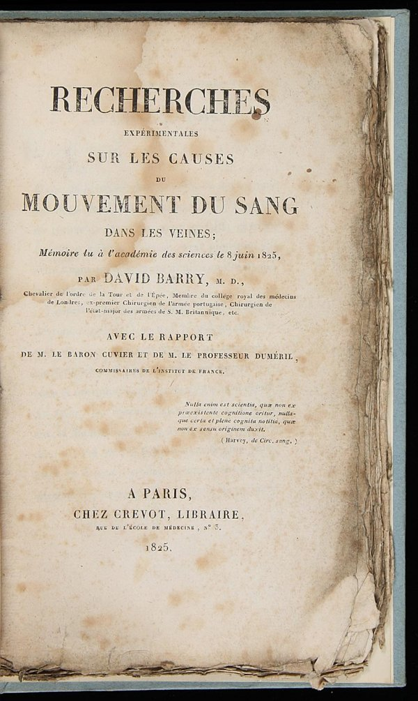 2013: Experiments on the Movement of Blood 1825