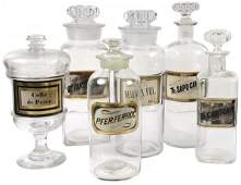 2193 Collection of 17 Glass Apothecary Bottles and Jar