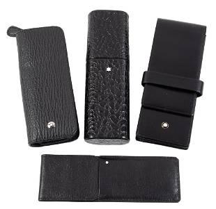Four MONTBLANC Leather Pen Etuis