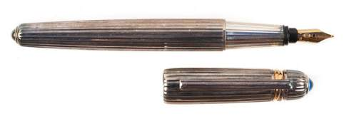 CARTIER Pasha Sterling Silver Godron Fountain Pen