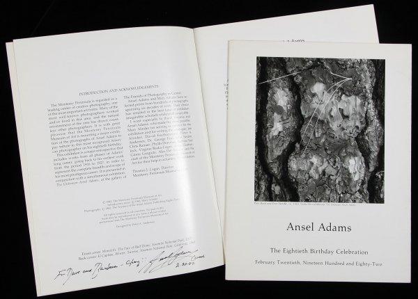 4458: Ansel Adams birthday menu inscribed