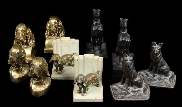 4592: 5 sets of dog bookends featuring various breeds