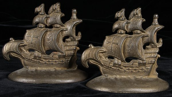4595: Galleon Ship Bookends by Connecticut Foundry