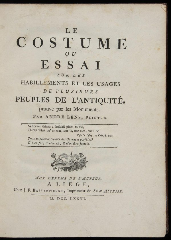 4756: Andres Lens Costumes of Antiquity 1776 - 2