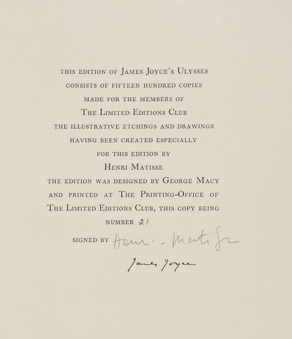 4769: Ulysses 1 of 250 signed by Joyce & Matisse L.E.C.