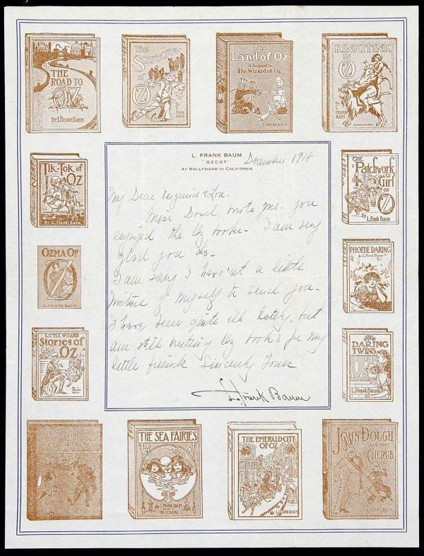 3012: Letter signed by L. Frank Baum