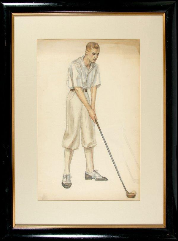 11: Putting man drawing, original framed