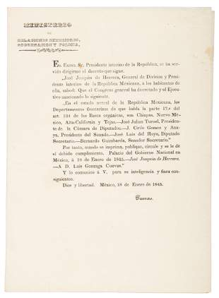Texas and California decreed as Mexico frontiers