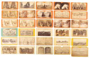 Thirty stereoview cards