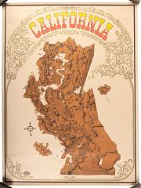 Psychedelic pictorial map of California