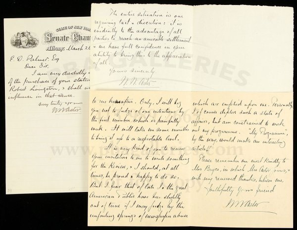 1: 3 letters signed by William Waldorf Astor