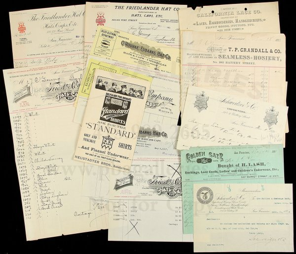 16: Ephemera from San Francisco clothiers, hat makers
