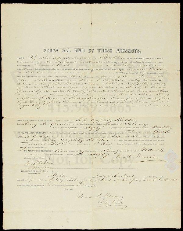 18: Stockton Land Deed 1850