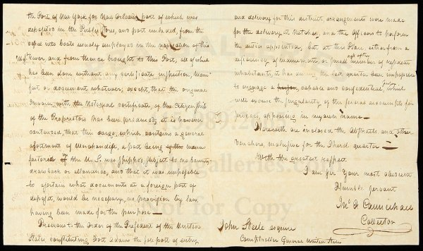 22: Rare letter from Fort Adams Mississippi