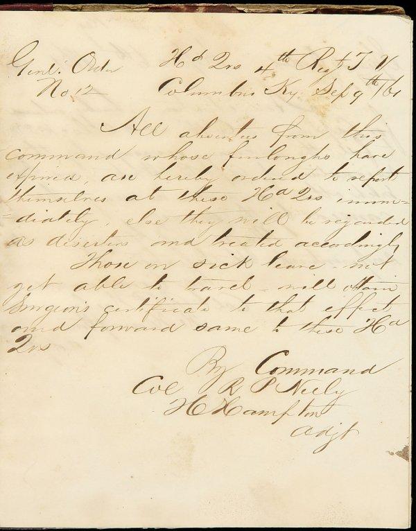 23: Confederate ms. Regimental Order Book