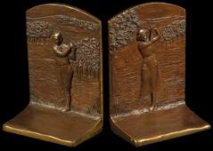 38: pair of bronze golfing bookends, marked 9981 A&B