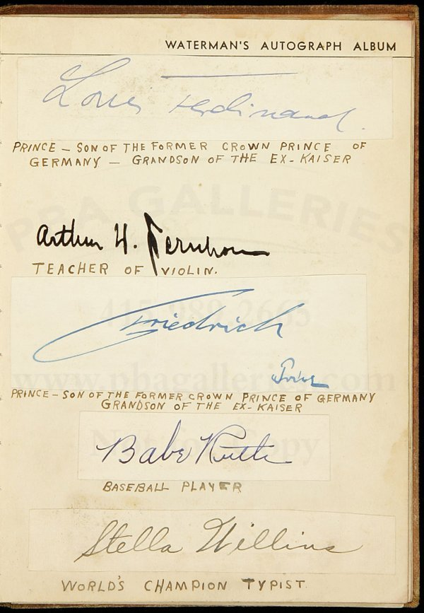 22: Waterman autograph album, Earhart, Babe Ruth