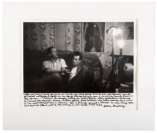 Photo of Kerouac and Burroughs signed by Ginsberg