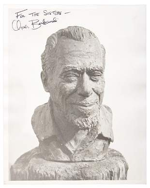 Photograph signed and inscribed by Bukowski