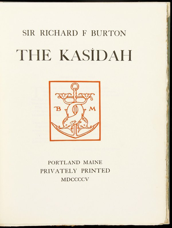 23: the Kasidah by Richard F. Burton 1/10 copies1905
