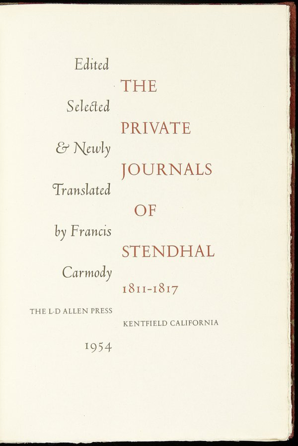 7: Allen Press Private Journals of Stendhal, 1/175