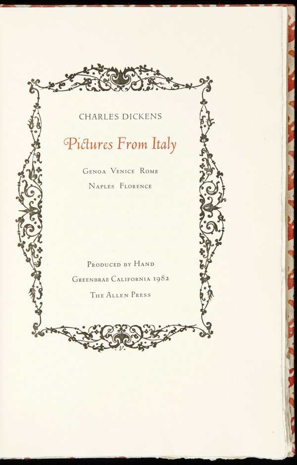 9: Allen Press, Dickens, Pictures From Italy, 1/140