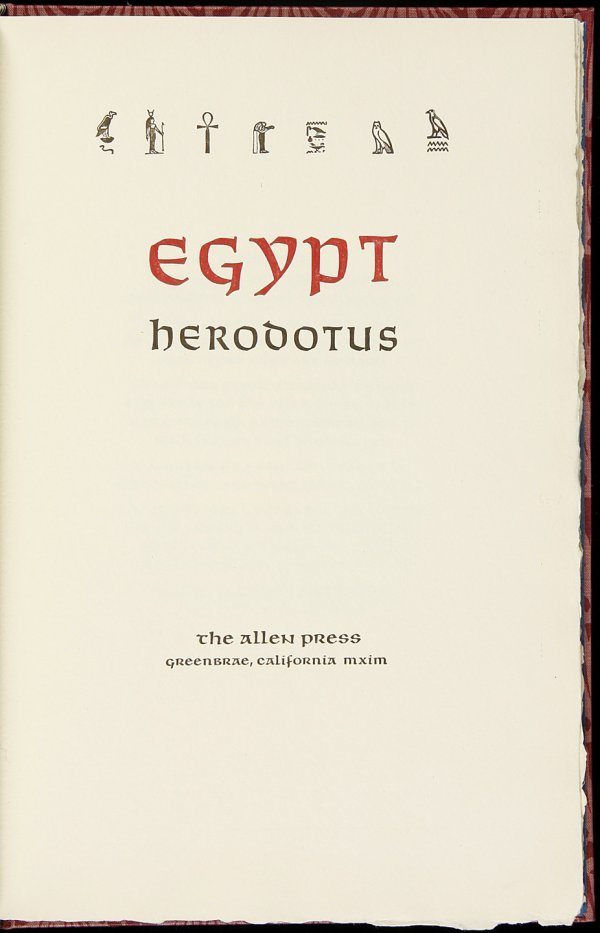 14: Allen Press, Herodotus Egypt, 1 of 121 copies