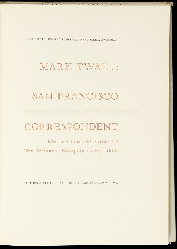 16: Allen Press, Mark Twain: SF Correspondent 1/400