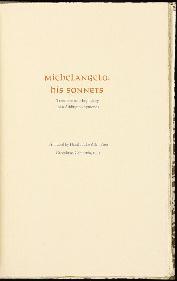 19: Allen Press, Michelangelo: His Sonnets 1/115